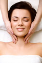 Face massage close up of a young woman getting spa treatment h high quality image Stock Photos