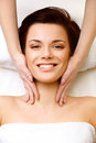 Face massage close up of a young woman getting spa treatment high quality image Stock Photo
