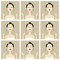 Face massage illustration with asian woman for your design this is file of eps format Royalty Free Stock Photo