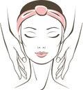 Face massage in spa salon
