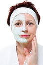 Face of a middle aged woman portrait with beauty mask Stock Photos