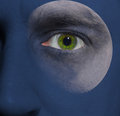 Face with a moon and blue sky skin Stock Photography