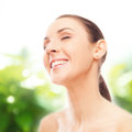 Face and neck skincare attractive woman showing her perfect beauty concept Stock Photo