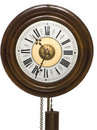 Face of a old wood pendulum clock Stock Photography