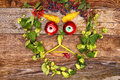 Face out of fruits and plants funny happy various looks up Stock Photo