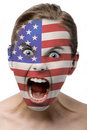 Face paint : american flag Royalty Free Stock Photo