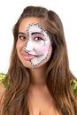 Face painting beautiful young girl with Royalty Free Stock Images