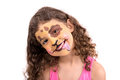 Face painting beautiful young girl with painted like a puppy Royalty Free Stock Photo