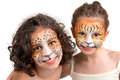 Face painting felines beautiful young girls with feline painted faces tiger and leopard Stock Images