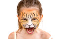 Face painting tiger beautiful young girl with painted like a Royalty Free Stock Images