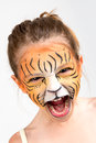 Face painting tiger beautiful young girl with painted like a Stock Photography