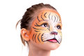 Face painting tiger beautiful young girl with painted like a Royalty Free Stock Photo