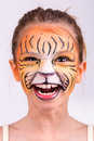 Face painting tiger beautiful young girl with painted like a Royalty Free Stock Photos