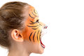 Face painting tiger beautiful young girl with painted like a Stock Photos