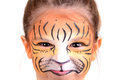 Face painting tiger beautiful young girl with painted like a Royalty Free Stock Image