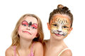 Face painting tiger and ladybug beautiful young girls with painted faces Stock Image