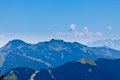 Face of the person on ridges panoramic view alps mountains Royalty Free Stock Image