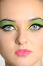 Face photo with makeup very close of model showing eyes and lips colorful young teenager model from poland Stock Photos
