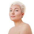 Face portrait of beautiful young woman isolated on white background Royalty Free Stock Photography