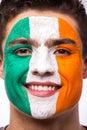 Face portrait of irishman football fan support republic of ireland national team on white background european fans Royalty Free Stock Photo