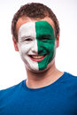 Face portrait of northern irishman football fan pray for northern ireland national team on white background european fans Stock Image