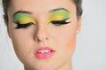 Face portrait young female model with colorful makeup closeup photo of teenager Royalty Free Stock Image