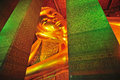 The face of reclining buddha statue in thailand buddha temple wat po Stock Photography