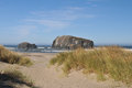 Face rock bandon oregon trail to the ocean beach in near Royalty Free Stock Photography