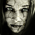 Face of sad woman with cracked dry skin Royalty Free Stock Photo