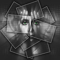 Face shines through hands, face is divided into many parts by cards , double exposure Royalty Free Stock Photo