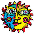 Face of the sun engraved color Royalty Free Stock Photo