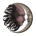 Face in Sun and Moon hand drawing vintage engraving money line d