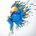 Face of a thinking woman created in low poly style, 3d vector hu