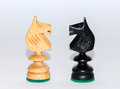 Face to face - two knights, wooden chess pieces, white background Royalty Free Stock Photo