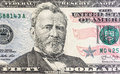 Face on US fifty or 50 dollars bill macro, united states money closeup Royalty Free Stock Photo
