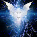 Face with wings and lightning design Royalty Free Stock Photo