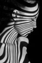 The face of woman with black and white zebra Royalty Free Stock Photo