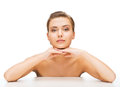 Face of woman with clean perfect skin beauty concept and hands beautiful Royalty Free Stock Images