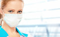 Face of woman doctor in mask a a Royalty Free Stock Image