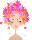 Face woman, floral hairstyle Stock Photos