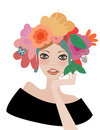 Face woman, floral hairstyle Stock Image