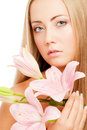 Face of woman with flower Royalty Free Stock Photography