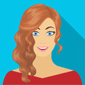 The face of a woman with a hairdo. Face and appearance single icon in flat style vector symbol stock illustration web.