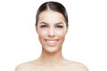 Face of young woman with clean skin and toothy smile beautiful Stock Images