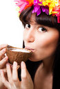 Face of a young woman drink coconut milk Stock Images
