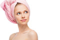 Face of young woman with a towel Royalty Free Stock Photo