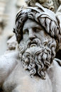 Face of Zeus in Piazza Navona fountain, Rome Italy Royalty Free Stock Photo