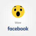 Facebook emotion icon. Wow emoji vector