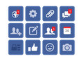 FACEBOOK VECTOR EDITABLE ICON SET ISOLATED ON WHITE BACKGROUND