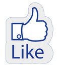 Facebook like blue floating icon of thumb pointing upwards with text Stock Photo